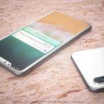 iPhone 8 ホワイト 最新のレンダリング、ガラスの本体+縮小ベゼルを表示