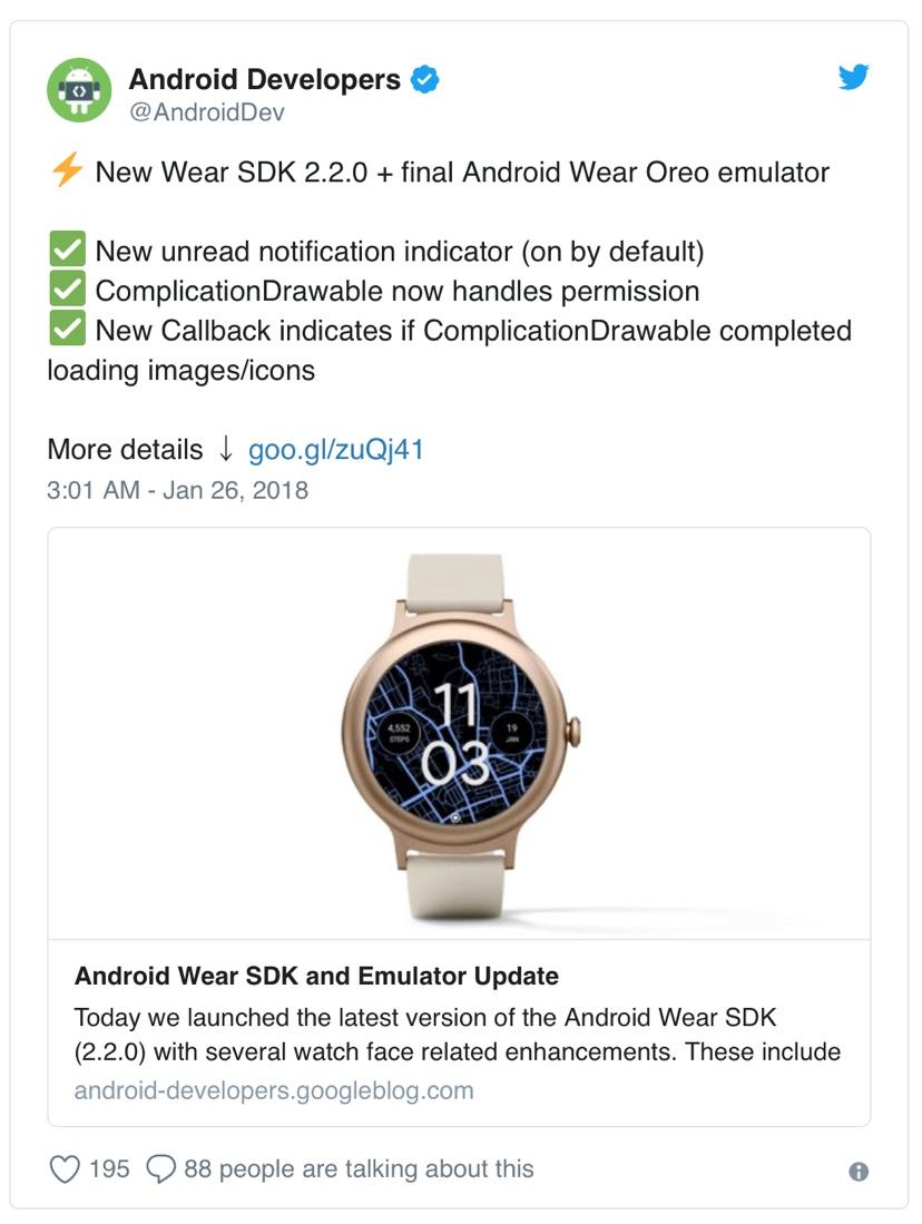4a7fcc979d 開発者はAndroid Wear SDK v2.2.0の最新バージョンでこれをテストできます。機能を試したいと思っているユーザーは、Android  Oreoを待つ必要はありません。